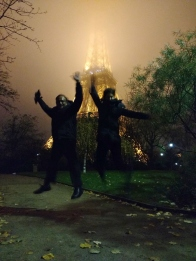 Celebrating this beautiful city - no matter the weather! #jumpshot #ParisPower